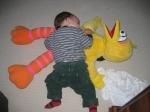 Exhausted toddler Big Bird