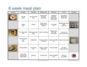 Free menu plan